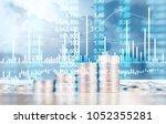 coin stacks   business money... | Shutterstock . vector #1052355281