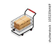 isometric shopping cart with... | Shutterstock .eps vector #1052356469