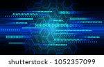 binary circuit board future... | Shutterstock .eps vector #1052357099