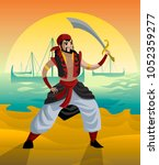 arabian sailor adventurer | Shutterstock .eps vector #1052359277
