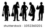 young man with shopping bag... | Shutterstock .eps vector #1052360201