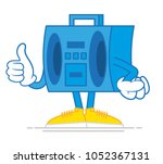 one blue cute old hip hop tape... | Shutterstock .eps vector #1052367131