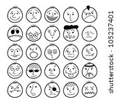 Set of hand-drawn funny cartoon faces. - stock vector