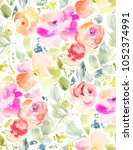 cute hand painted watercolor... | Shutterstock . vector #1052374991