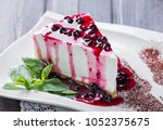 dessert cheesecake with berries ... | Shutterstock . vector #1052375675