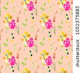 hand painted pink spring floral ... | Shutterstock . vector #1052375885