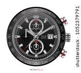 realistic black clock face... | Shutterstock .eps vector #1052379791