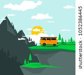 camping in the mountains by car ... | Shutterstock .eps vector #1052386445