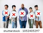 workers standing and holding... | Shutterstock . vector #1052405297