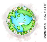 earth day. eco friendly concept.... | Shutterstock .eps vector #1052418149