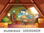 vector attic interior  children ... | Shutterstock .eps vector #1052424029