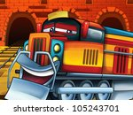 The locomotives station - happy loco standing on the sidetrack and laughing out loud - stock photo
