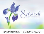 8 march vector greeting card.... | Shutterstock .eps vector #1052437679