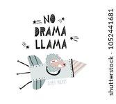 cheerful lama flies in a rocket ... | Shutterstock .eps vector #1052441681