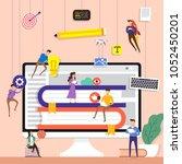 flat design concept team... | Shutterstock .eps vector #1052450201
