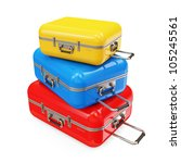 Many Suitcases isolated on white background - stock photo