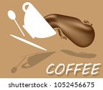 flat design with cup of  coffee ... | Shutterstock .eps vector #1052456675
