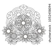 floral mandala pattern in black ... | Shutterstock .eps vector #1052458094