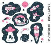 doodle icons  ufo  astronaut... | Shutterstock .eps vector #1052462999