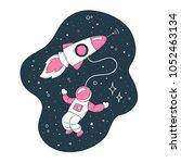 rocket  comet  astronaut in... | Shutterstock .eps vector #1052463134