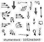 hand drawn vector arrows ... | Shutterstock .eps vector #1052465645