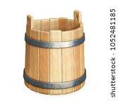 empty wooden bucket isolated on ... | Shutterstock . vector #1052481185