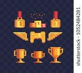 winner's trophy award pixel art ... | Shutterstock .eps vector #1052484281