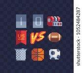 sport pixel art icons set ... | Shutterstock .eps vector #1052484287