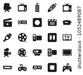 flat vector icon set   cinema... | Shutterstock .eps vector #1052489087