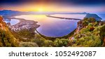 amazing sunrise view with... | Shutterstock . vector #1052492087