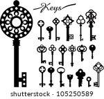 vintage keys | Shutterstock .eps vector #105250589