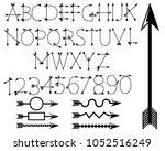 black arrow alphabet. | Shutterstock .eps vector #1052516249