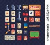 board game pixel art 80s style... | Shutterstock .eps vector #1052526944