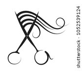 hairdressing scissors and curl... | Shutterstock .eps vector #1052539124