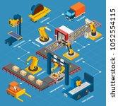 industrial machines isometric... | Shutterstock .eps vector #1052554115