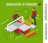 manufacture of furniture  work... | Shutterstock .eps vector #1052554211