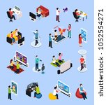 set of isometric gamers with... | Shutterstock .eps vector #1052554271