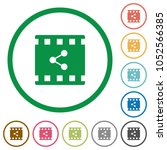 share movie flat color icons in ... | Shutterstock .eps vector #1052566385