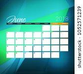 june 2018. calendar planner... | Shutterstock .eps vector #1052571239