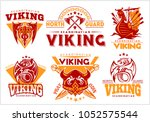 vintage viking emblems set with ... | Shutterstock .eps vector #1052575544