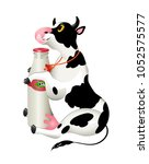 vector illustration. cow and a... | Shutterstock .eps vector #1052575577
