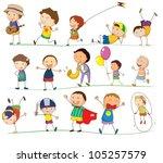 illustration of a boys doing... | Shutterstock .eps vector #105257579