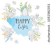cute happy easter templates... | Shutterstock .eps vector #1052582351