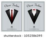 men's jackets. suits with bow... | Shutterstock .eps vector #1052586395