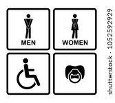 restroom icons with men women ... | Shutterstock .eps vector #1052592929