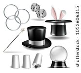 magician symbol set with black...   Shutterstock .eps vector #1052606315