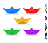 paper boat with shadow color... | Shutterstock .eps vector #1052606321
