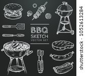 barbecue vector chalk sketch... | Shutterstock .eps vector #1052613284