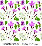 floral pattern with carnation ... | Shutterstock .eps vector #1052614067