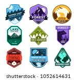 set of badges with mountain and ... | Shutterstock .eps vector #1052614631